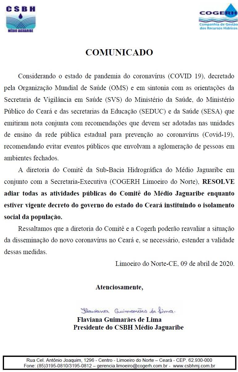 CSBH Médio Jaguaribe suspende atividades em função do COVID-19
